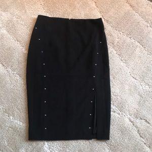 Studded black pencil skirt